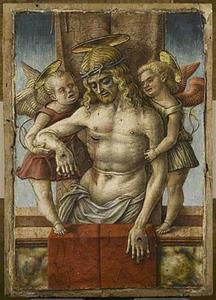 Gestorven Christus ondersteund door engelen
