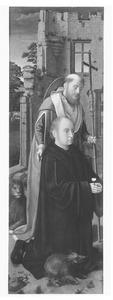 Portret van een stichter in de gedaante van de H. Antonius Abt, met de H. Hieronymus