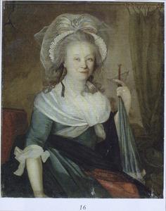 Portret van een vrouw met een parasol