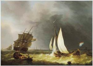 Zeilschepen op het water bij onstuimig weer