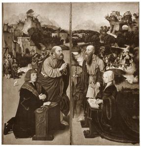 De stichter, mogelijk Aelbrecht Adriaensz. van Adrichem en de H. Petrus (links); de stichtster, mogelijk Elisabeth van Dorp en de H. Paulus (rechts)