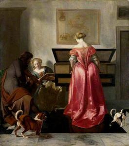 Virginaal spelende vrouw, een zingende vrouw en een vioolspelende man in een interieur