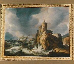 Schepen in moeilijkheden voor een rotsachtige kust; rechts worden mensen aan land geholpen