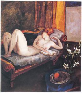 Vrouwelijk naakt op canapé, met boek