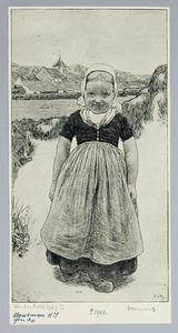 Wandelend meisje in Zeeuwse klederdracht
