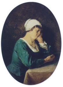 Slaperige jonge vrouw: de traagheid (één der zeven hoofdzonden)