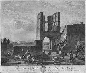 Landschap met de ruïne van de voorpoort van kasteel Brederode vanuit het westen, in spiegelbeeld