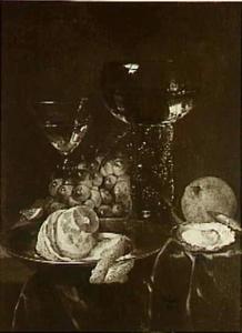 Stilleven met citroen, druiven, een oester en glazen op