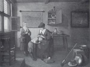 Interieur met een oude vrouw die een jongen ontluist, en een meisje