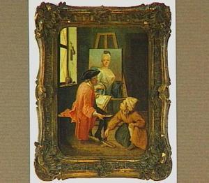 Atelier van de schilder met jonge man, tekenend naar een portret