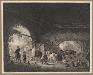 Stalinterieur met de poort van kasteel Brederode vanuit het oosten