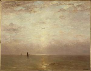 Boten op zee bij ondergaande zon