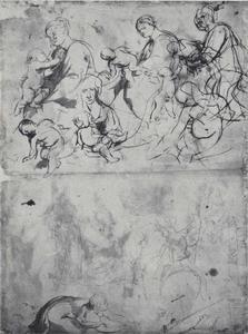 Studie van een Madonna en studie van een landschap met de Heilige Joris