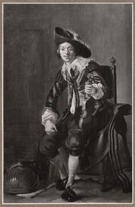 Portret van een zittende jongeman met viool en luit