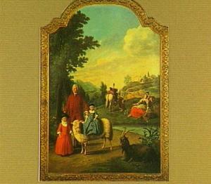 Portret van Fredericus Antonius Snoeckx (1729-na 1797) ?, zijn petekind Jacobus Fredericus Snoeckx (1767-1828) en zijn dochter?