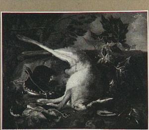 Jachtbuit met een haas in een landschap