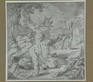 De stroomgod Peneus en de god Leukippus; op de achtergrond links: Apollo doodt de draak Python, rechts: Apollo met Daphne die in een laurierboom verandert (Ovidius Met. 1, 438-587)