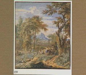 Arcadisch landschap met figuren