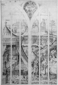 Judith en haar dienstmaagd stoppen het hoofd van Holofernes in een zak (Judith 12)