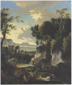 Italianiserend berglandschap met vissers