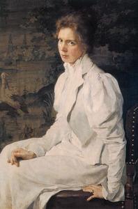 Portret van Jeltje de Josselin de Jong-Kappeyne van de Coppello (1867-?), echtgenote van de schilder