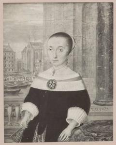 Portret van Maria Soolmans (1624-1660), met doorkijk naar het stadhuis op de Dam in Amsterdam