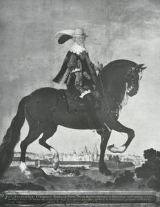 Ruiterportret van August de Jongere, hertog van Braunschweig-Lüneburg (1579-1666) met kasteel Wolfenbüttel op de achtergrond