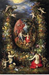 Krans van vruchten rond een voorstelling met Cybele die geschenken ontvangt van personificaties van de vier jaargetijden