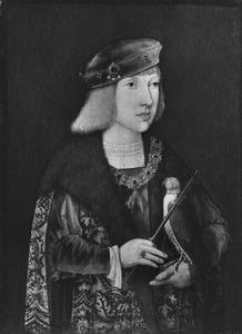Portret van een jonge edelman met een valk, waarschijnlijk Philips de Schone