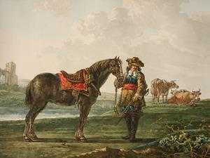 Landschap met ruiter bij zijn paard