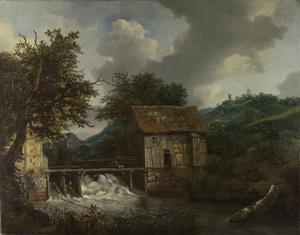 Landschap met twee watermolens bij een sluis