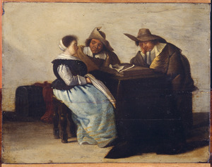 Interieur met een gezelschap rond een tafel
