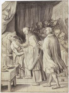 Het toedienen van het sacrament van de stervenden, het H. oliesel
