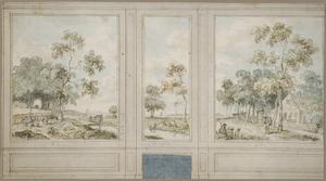 Zijwand met drie behangselvlakken met een doorlopend landschap