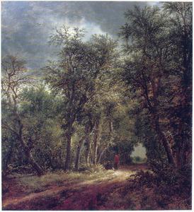 Boslandschap met twee rustende reizigers