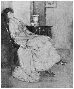 Rustende dame met boek