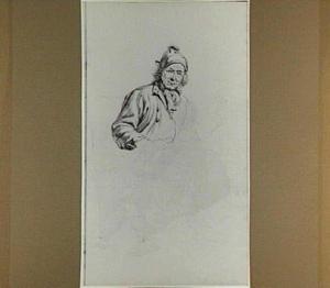 Man met muts ten halven lijve en schets van zijn onderlijf