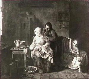 Een familie in een interieur