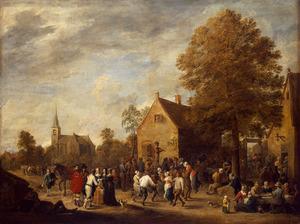 Feestend gezelschap in een dorp