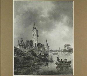 Gezicht op de stadsmuur te Utrecht vanuit het noord-oosten, met in het midden de Plompetoren, links een gedeelte van het aarden bolwerk Wolvenburg en de waltoren De Wolf, rechts de waltoren De Vos