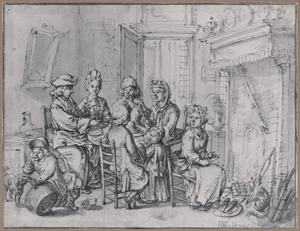Interieur met familie zittend rond een tafel