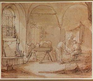 Interieur van een boerderij met drie figuren