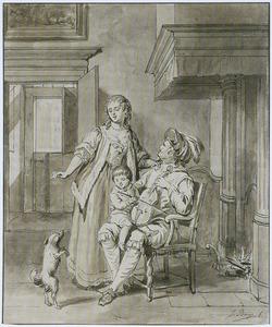 Man met viool, kind en vrouw in interieur (Het Gehoor)