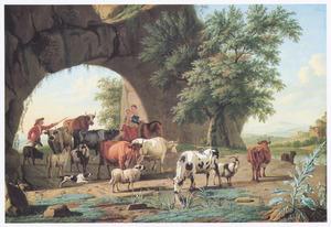 Landschap met kudde vee bij een rotsboog