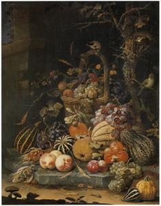 Bosstilleven met mand met vruchten bij een boom met een vogelnest