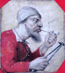 Een boer die een pijp aansteekt (allegorie van de Reuk?)