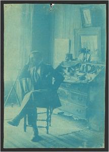 De Belgische schilder Frantz Melchers (1868-1944) in zijn huis op de Markt in Veere