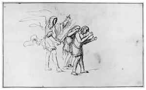 Adam en Eva door de engel verdreven uit het paradijs met een zwaard  (Genesis 3:23-24)