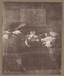 Rokend,drinkend en triktrakspelend gezelschap in een interieur