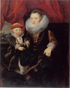 Portret van een jonge vrouw met haar kind, ook wel Balthasarina van Lennik met haar zoon genaamd
